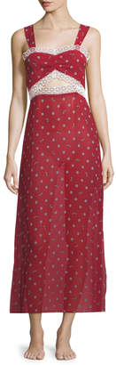 Neiman Marcus Morgan Lane Joana Bee Daisies Lace-Trim Nightgown