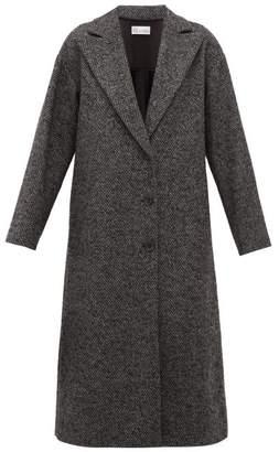 RED Valentino Ruffled Single Breasted Herringbone Coat - Womens - Grey