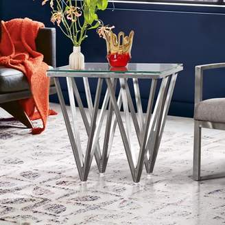 Cascade Armen Living Contemporary Square End Table in Brushed Stainless Steel with Tempered Glass Top