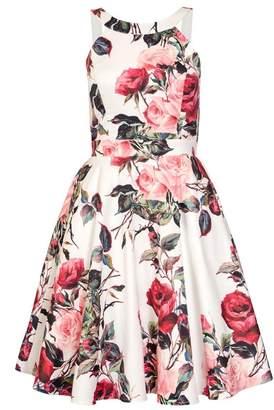 Quiz Cream Floral Print High Neck Dress