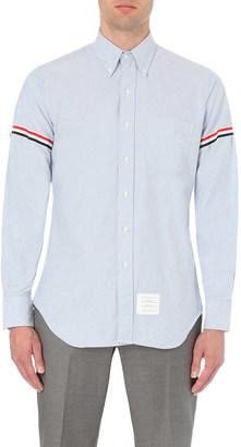 THOM BROWNE Signature-stripe regular-fit cotton-twill shirt $360 thestylecure.com