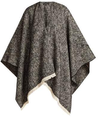 Weekend Max Mara - Fringe Trim Knitted Poncho - Womens - Black