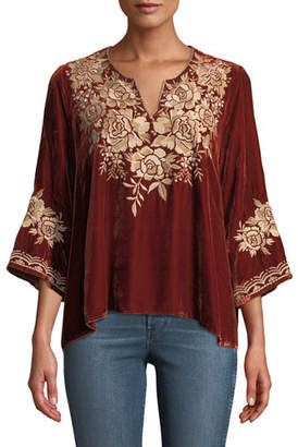Johnny Was Ollena Floral-Embroidered Velvet Top, Plus Size