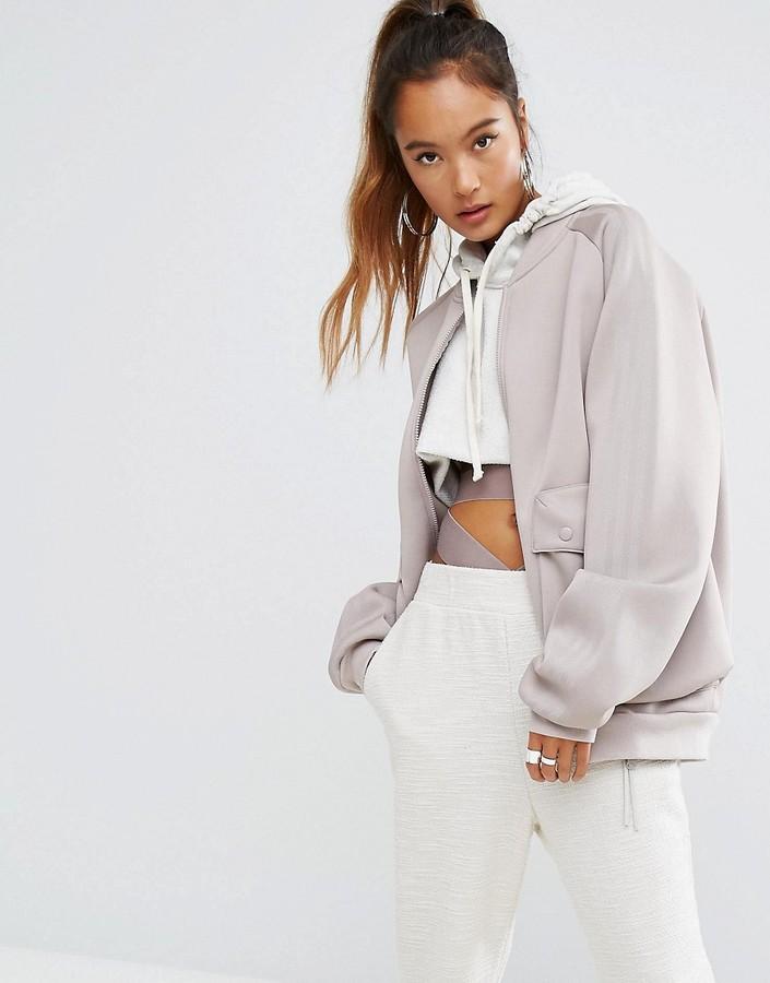 adidasAdidas adidas Originals Oversized Bomber Jacket With Side Pockets