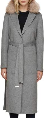 Soia & Kyo Wool Blend Genuine Fox Fur Trim Belted Coat