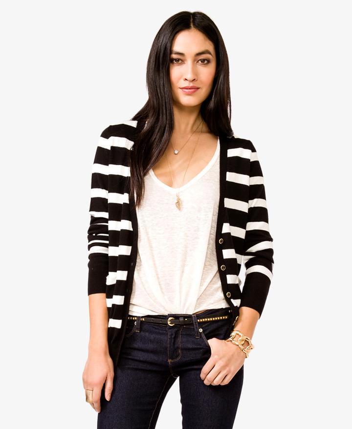 Forever 21 Essential Striped V-Neck Cardigan