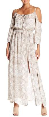 Elan International Cold Shoulder Patterned Maxi Dress