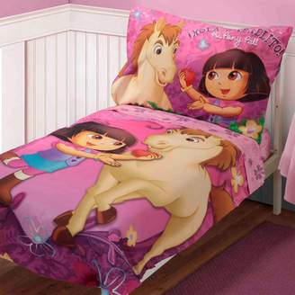 Stevens Baby Boom Dora Pony Adventures 4 Piece Toddler Bedding Set