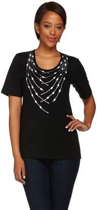 Bob Mackie Short Sleeve Knit Top with Studded Detail