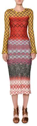 Missoni Crewneck Long-Sleeve Multicolor Knit Midi Dress