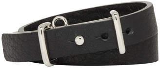Ambush Black and Silver Leather Buckle Bracelet