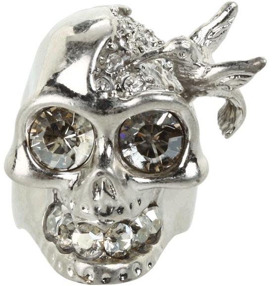 Alexander McQueen Skull Bird Ring (Silver) - Jewelry