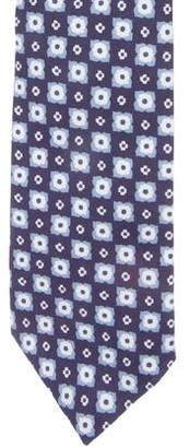 Isaia Geometric Print Silk Tie