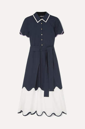 Lela Rose Pleated Scalloped Cotton-poplin Dress - Navy