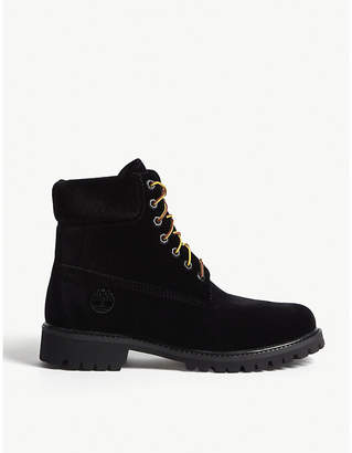 Timberland x Off-White lace-up velvet boots