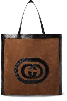 Gucci Patent Leather-Trimmed Suede Tote Bag - Brown