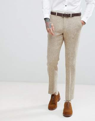 Asos Slim Suit Pants In 100% Wool Harris Tweed In Taupe Herringbone