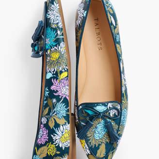 Talbots Francesca Tied Tassel Driving Moccasins - Floral Leather