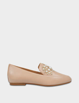 MICHAEL Michael Kors Gia Pearl Loafers in Oyster Nappa Leather and Pearls