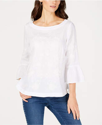Charter Club Embroidered Linen Bell-Sleeve Blouse