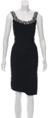 Carmen Marc Valvo Bandage Embellished Dress Navy Bandage Embellished Dress