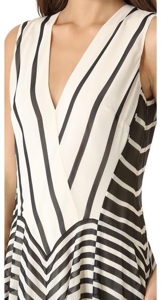 Halston A Line Stripe Gown