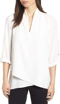Ming Wang Crossover Front Blouse