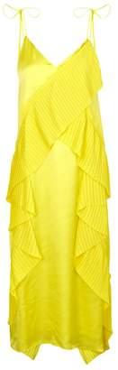 Kenzo Yellow Ruffled Satin Midi Dress