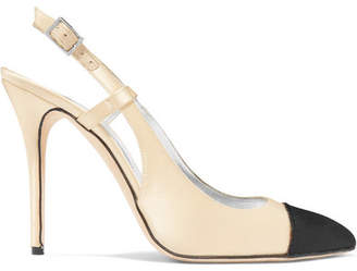 BEIGE Alessandra Rich - Two-tone Satin Slingback Pumps