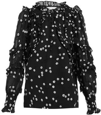 Rebecca Taylor Alessandra Floral Embroidered Cotton Blend Blouse - Womens - Black White