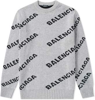 Balenciaga All Over Logo Crew Knit
