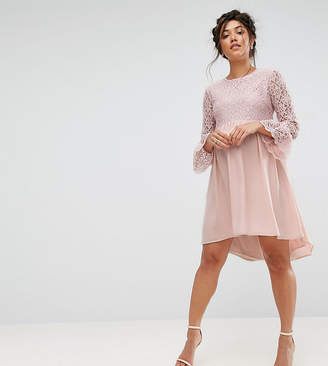 Queen Bee Lace Hi Lo Smock Dress With Ruffle Sleeve