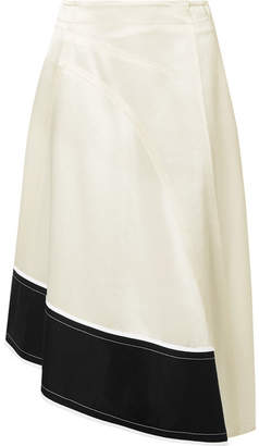 Derek Lam Asymmetric Cotton Poplin-trimmed Satin-crepe Midi Skirt - Off-white