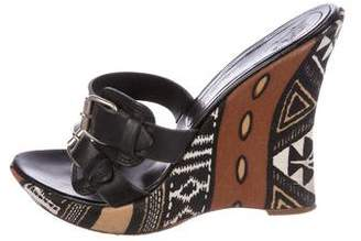 Casadei Leather Wedge Sandals