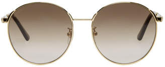 Gucci Gold and Brown Round Vintage Web Sunglasses