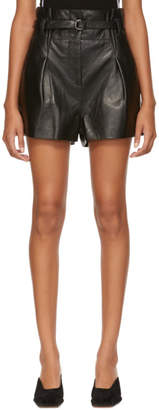 3.1 Phillip Lim Black Leather Origami Shorts