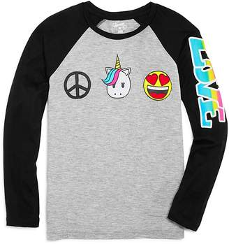 Flowers by Zoe Girls' Raglan Peace, Unicorns & Emoji Tee - Big Kid