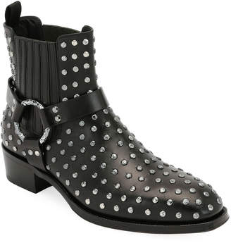 Alexander McQueen Men's Studded Leather Moto Boot