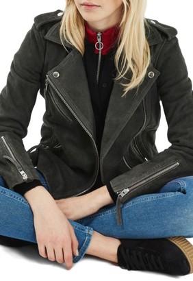 Women's Topshop Suede Moto Jacket $320 thestylecure.com