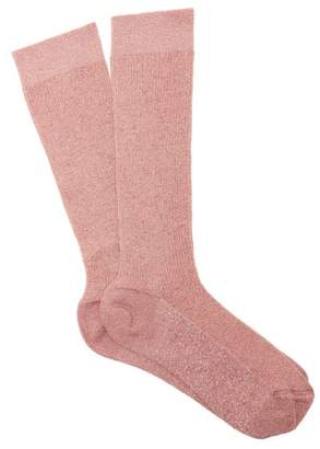 Raey Lurex Ribbed Socks - Womens - Pink
