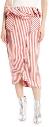 Johanna Ortiz Mil Rayas Striped Peplum Midi Skirt