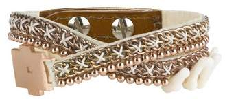 Fiona Paxton Hand Beaded Double Wrap Cuff, Brass Chain and Beads with Laser Cut Metal Shape on Leather of 42cm