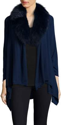 Alice + Olivia Women's Izzy Fur-Collar Cascade Cardigan - Navy, Size xs [x-small]