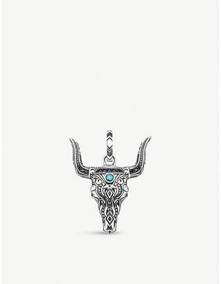 Thomas Sabo Rebel at Heart bull's head sterling silver, black zirconia and turquoise pendant