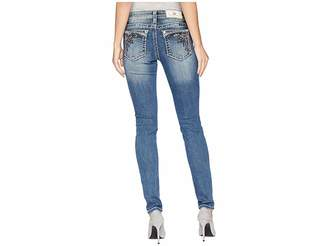 Miss Me Mid-Rise Skinny with Ruffle Back Pockets in Medium Blue