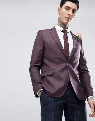 Asos Design WEDDING Skinny Blazer In Burgundy 100% Merino Wool