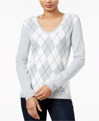 Tommy Hilfiger Ivy V-Neck Argyle Sweater, Only at Macy's $59.50 thestylecure.com