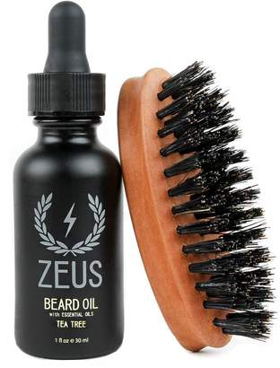 Zeus Beard Oil Natural Conditioner Softener Kit With 100% Boar Bristle Brush, Tea Tree
