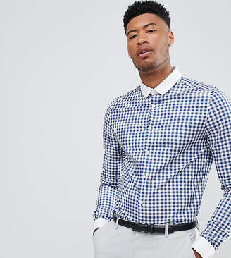 Asos Design TALL smart stretch slim shirt with contrast collar and double cuffs