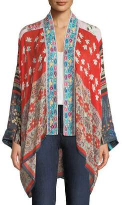 Johnny Was Mixed-Print Kimono Jacket w/ Embroidery